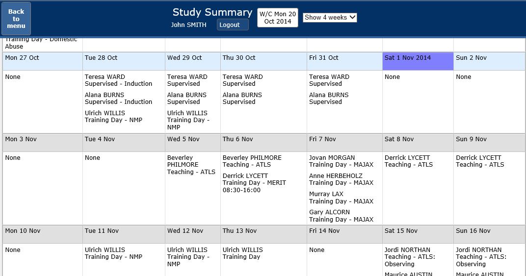 training calendar format
